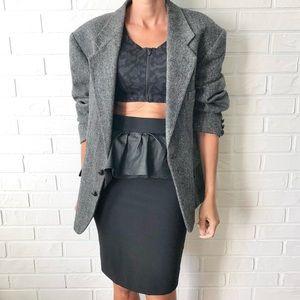 Grey wool tweed oversize boyfriend blazer jacket L